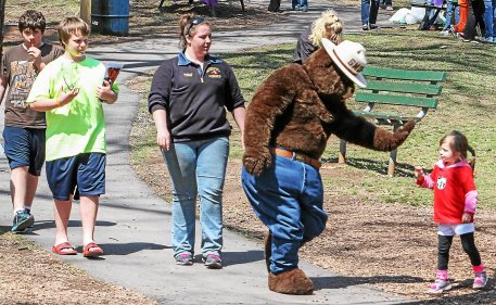 Smoky the Bear greets young children at the Healthy Kids Day event held Sat. at Boyertown Community Park.  Photo by Kevin Hoffman, The Mercury