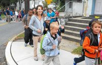 FILE - Lincoln Elementary School students and family in Pottstown got together for a healthy walk to school. (Photo by John Strickler/The Mercury)