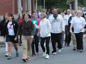 Area business people and Pottstown residents met up at Smith Family Plaza in front of Pottstown Borough Hall to participate in The Mercury Mile a Fit for Life event. Walkers took a stroll on the sidewalks along High Street in the downtown business district Thursday May 29, 2014. Photo by John Strickler The Mercury