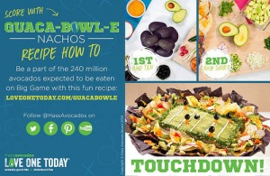 The Hass Avocado Board is gearing up for the Super Bowl. Follow their campaign on Facebook and Twitter using the hashtag #240millionavos. Photo courtesy of the Hass Avocado Board. -