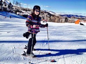 The bright sunshine and clear blue skies of Colorado served as a perfect backdrop for Kristin Merony as she prepared to learn how to ski at Telluride Mountain Resort, which operates on the Uncompahgre National Forest. (U.S. Forest Service)