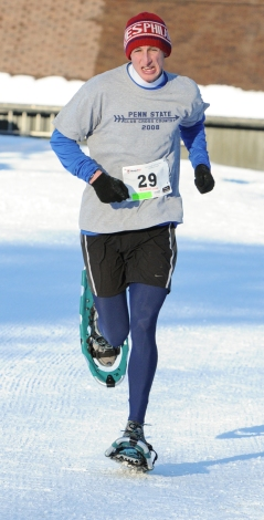 John Strickler - The Mercury Sean Clark of Philadelphia took first place overall in the 10th Annual Pa. Snowshoe Race held at Spring Mountain Adventures.