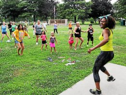 The Pottstown YMCA and The Mercury  held an outdoor zumba class at Memorial Park as part of the Fit for Life program Wednesday July 9, 2014. Photo by John Strickler The Mercury