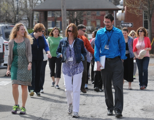 John Strickler - The Mercury Pottstown School District administration employees along with downtown workers take advantage of the beautiful weather Wednesday April 15, 2015 to walk in he Mercury mile.