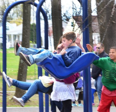 Boyertown Community Park swings were busy during Earth Day event....Photo/Tom Kelly III