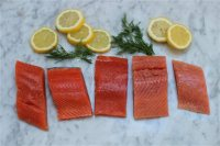 This March 16 2015 photo shows salmon varieties from left,  King, Sockeye, Coho, Keta, and Pink in Concord, NH. (AP Photo/Matthew Mead