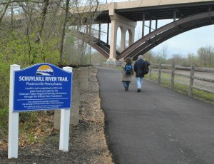The beginning of the Schuylkill River Trail segment in Phoenixville. The borough hosted an official opening celebration of the new section of trail on Saturday, April 25.