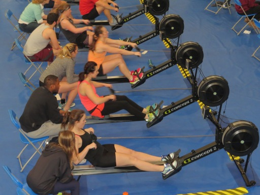 Students participate in an indoor rowing competition. Submitted Photo