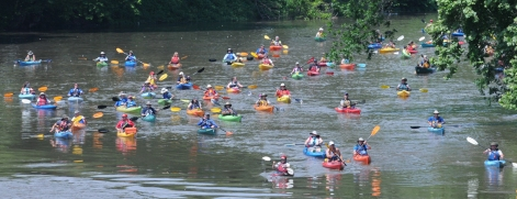 John Strickler - The Mercury The Schuylkill River Sojourn had 109 kayakers and canoeists on the river as they made their way into Pottstown's Riverfront Park Tuesday June 9, 2015.