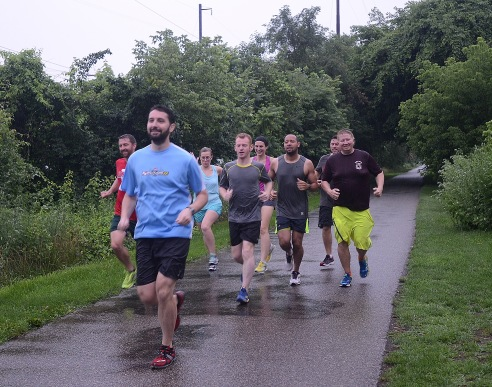 The Conshy Running Club runs the Schuylkill River Trail on Thursday evening. Thursday, June 25, 2015. Adrianna Hoff—The Times Herald.