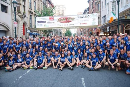 "The 250-member ""Wheels of Justice"" team stand at the starting point before participating in the 2015 Tour de Shore. Photo courtesy of Michael Foltz"