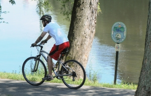 John Strickler - The Mercury Bicyclist rides along the Schuylkill River Trail which was named the best urban trail in the United States.