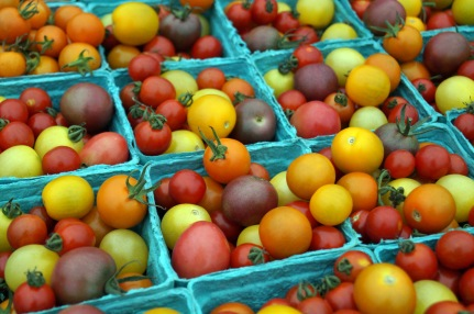 Photo by Emily Ryan for Digital First Media Mixed cherry tomatoes from Two Gander Farm make a colorful display at the Downingtown Farmers Market.