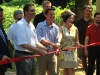Montgomery County Commissioners Bruce Castor Jr., Josh Shapiro and Val Arkoosh take part in a ribbon-cutting ceremony for the Schuylkill Canal Towpath Tuesday. This 1.75-mile section of the Schuylkill River Trail adds the final piece to connect Philadelphia to Phoenixville. Eric Devlin — The Mercury