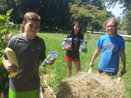 Riley, far left, and Nora, middle, hold bags of freshly picked vegetables while Maddie, far right, transports a bale of hay. The youth helped harvest food from their church garden in East Coventry for donations to charities last week. Michilea Patterson — The Mercury