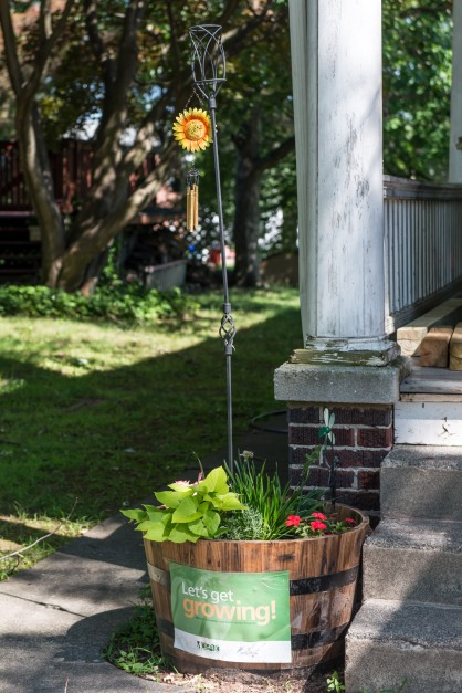 Submitted Photo. This whiskey barrel garden in front of a N. Franklin Street home was the first place winner in the junior category for the 2015 Pottstown Home Garden Contest. Madisyn Williams, 10, used sweet potato plants and flowers in the garden.