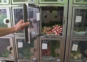 "In this July 2, 2015 photo, a man opens a door at a food automat in Paris, France. Joseph Petit employs no staff at his two Paris stores. Both called Au Bout du Champ - ""at the end of the field"" - the small spaces are stacked with metal lockers containing just-picked strawberries, hours-old eggs, and neat bunches of carrots or spring onions, depending on the season. Customers simply choose the box that contains the food they want to buy, then pay at a console to open the door. (AP Photo/Michel Euler)"