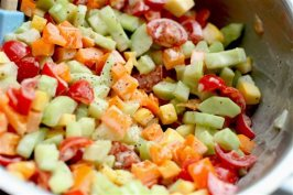 This June 15, 2015 photo shows back to school chopped salad in Concord, N.H. This dish is from a recipe by Alison Ladman. (AP Photo/Matthew Mead)