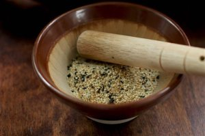 This June 1, 2015 photo shows gomasio in Concord, N.H. Gomasio is a Japanese dry condiment made from lightly ground sesame seeds and salt. Some variations also include toasted seaweed. (AP Photo/Matthew Mead)