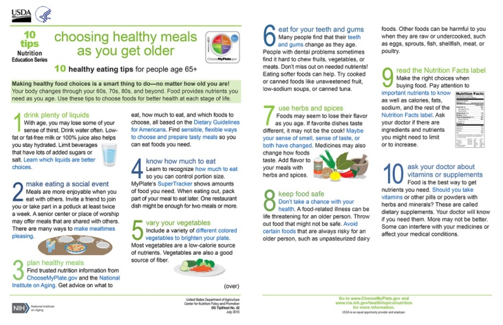 """New 10 Tips Resource, """"Choosing Healthy Meals As You Get Older"""" infographic."""