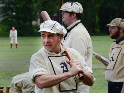 A member of the Athletic Baseball Club of Philadelphia gets ready to bat....Photo/Tom Kelly III