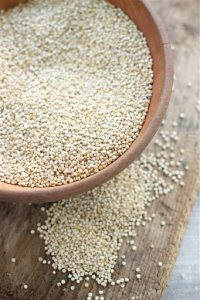 This July 20, 2015 photo shows whole grain quinoa in Concord, NH. A little quinoa here and there can improve almost any dish. (AP Photo/Matthew Mead)