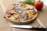 This July 27, 2015 photo shows summers end tomato tart in Concord, NH. (AP Photo/Matthew Mead)