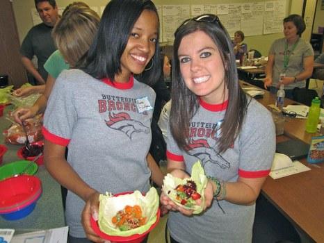 High school students enjoy their locally sourced chicken tacos.