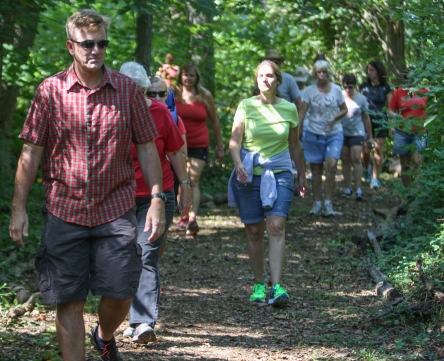 KEVIN HOFFMAN - THE MERCURY. Participants in the Mercury Mile enjoy a walk through the park in Upper Pottsgrove Twp.