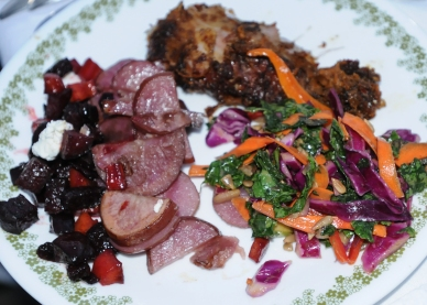 John Strickler - The Mercury The main dish for the evening outdoor dinner. Warm beet salad and kale and red cabbage slaw from the Kimberton CSA; roasted pink potatoes from Jubilee Hill farm and slow roasted leg of lamb from the Rupert Farm.