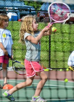 Tom Kelly III — For Digital First MediaFILE PHOTO — Six-year-old Emily Tischler tries a backhander during a tennis clinic in Pottstown