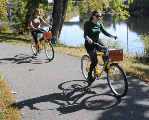 John Strickler - The Mercury Riders pedal several miles along the Schuylkill River Trail Wednesday starting at Riverfront Park as part of the weekly Mercury Mile event.