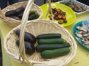 A variety of vegetables are displayed on a table during a community day event in Upper Frederick Saturday. The veggies were grilled then given out as free samples of healthy food.