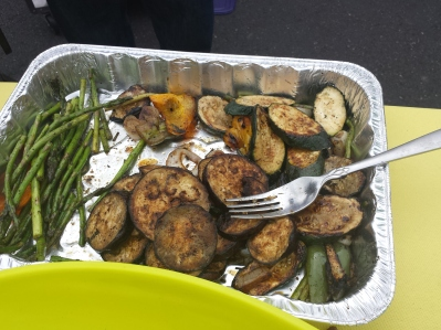 Grilled eggplant and asparagus were made delicious with an Italian marinade.