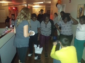 Mother and son prepare for a three-legged race during a Halloween family fun night at Creative Health Services in Pottstown. Attendees were participants of the Healthy Weight, Healthy Families program.