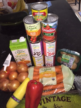 Ingredients for a vegetarian chili
