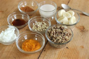 This Sept. 21, 2015, photo shows ingredients for quinoa pumpkin breakfast bowl in Concord, N.H. (AP Photo/Matthew Mead)