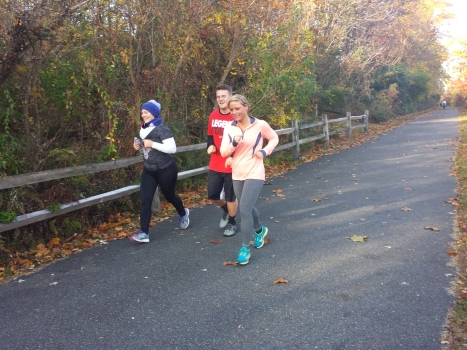 A group runs on the Schuylkill River Trail as part of CrossFit Pottstown's 4th Annual Fall River Run.