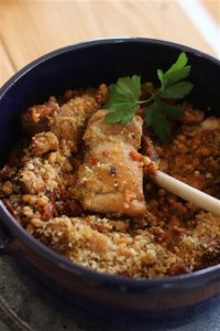 This October 26, 2015 photo shows lightened cassoulet in Concord, NH. This recipe evokes some of the comfort of a classic French cassoulet, without quite so much heft. (AP Photo/Matthew Mead)