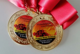 These medals were awarded to the Pottstown Junior Dragon Warriors team for winning first place in their division on Saturday. The team competed in the Philadelphia International Dragon Boat Festival. Submitted Photo