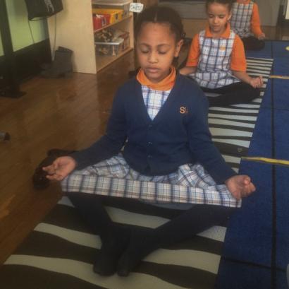 Children on yoga mats