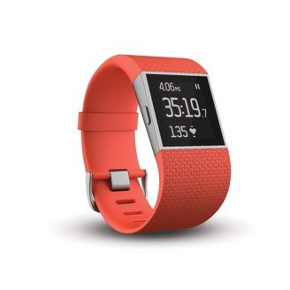 This photo provided by Fitbit, Inc., shows the Fitbit Surge, among the few fitness trackers with built-in GPS and heart-rate monitors. Under normal use, the Surge's battery life lasts up to a week. (Fitbit via AP)