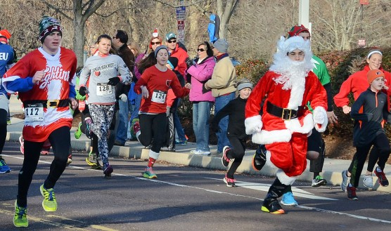 Runners at the start of the Pottstown Funky Santa 5K and 3-Person Relay Race....Photo/Tom Kelly III
