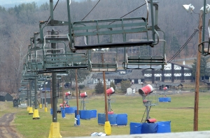 Geoff Patton--The Reporter An idled ski lift and snowmaking equipment are at Spring Mountain Ski Area in Upper Salford Wednesday, December 9, 2015.