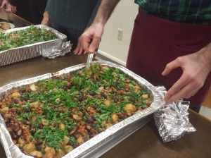 A vegan dish made with beans, potatoes and vegetables is full of protein. The healthy food was prepared by iCreate Cafe owner Ashraf Khalil and served to the homeless at Christ Episcopal Church in Pottstown Tuesday. Michilea Patterson — The Mercury