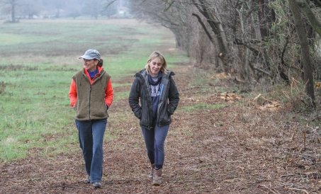 KEVIN HOFFMANÐTHE MERCURY Flora Kapp (left) and Karen Nocella (right) take a stroll along the future site of the 80 acre walking trail in East Coventry Twp.