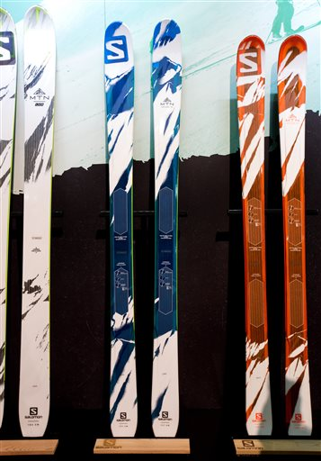 d89cd23a07cd MTN Explore 95 touring skis on display at the Salomon booth during the  Outdoor Retailer Show