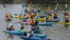 Kayakers get together for a group photo before paddling the Schuylkill River. They started at Riverfront Park in Pottstown and finished at Lock 60 in Mont Clare. John Strickler - Digital First Media