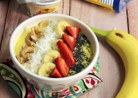 The tropical smoothie bowl is made with pineapples and frozen mango chunks. Toppings can include bananas, strawberries and cashews. Photo courtesy of ShopRite.