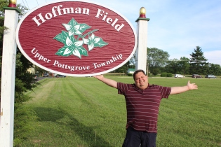 Upper Pottsgrove Commissioner Martin Schreiber poses next to the Kulp Field sign. Hoffman and Kulp Fields in Upper Pottsgrove was one of the winners in this year's regional parks contesting earning $7,500 in grant funds.